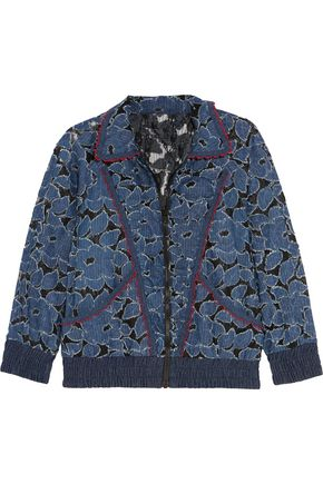 ANNA SUI Jacquard-trimmed denim-appliquéd lace jacket