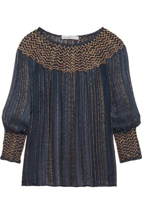 CHELSEA FLOWER Metallic embroidered chiffon blouse
