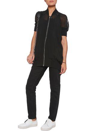 RICK OWENS Asymmetric silk-crepe bomber jacket