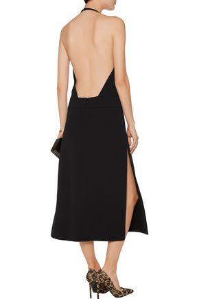 TOM FORD Leather-trimmed crepe midi dress