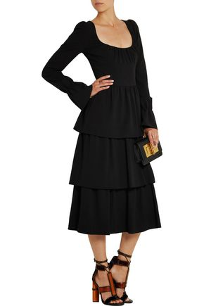 TOM FORD Tiered stretch-wool crepe dress