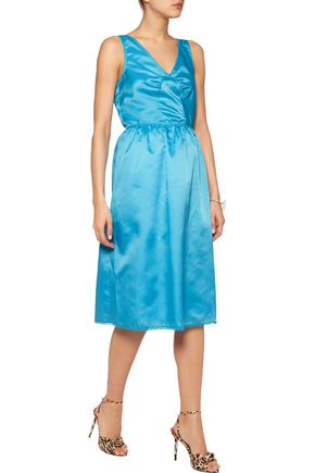 MARC BY MARC JACOBS Lace-trimmed gathered satin-twill midi dress