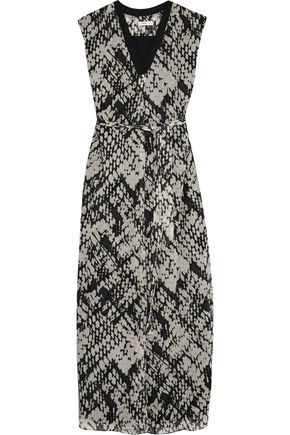 VINCE. Printed crinkled-silk maxi dress