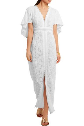 TALITHA Cape-back silk-macramé lace maxi dress