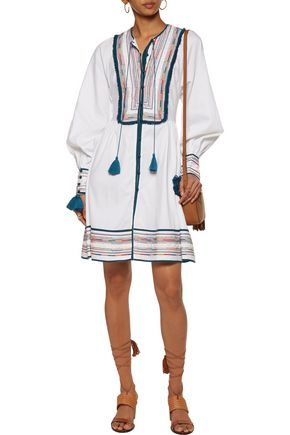 TALITHA Kutch Athena tasseled embroidered cotton mini dress