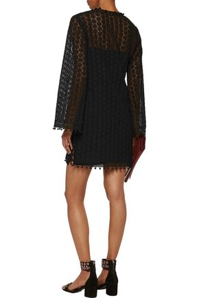 TALITHA Embellished guipure lace mini dress