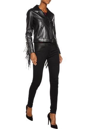 HAUTE HIPPIE Fringed leather biker jacket