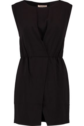 HALSTON HERITAGE Asymmetric layered crepe dress