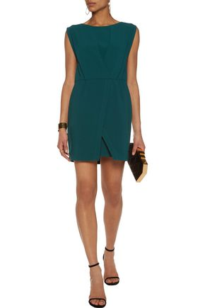 HALSTON HERITAGE Pleated crepe mini dress