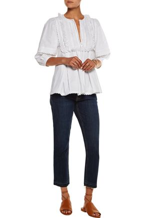 TALITHA Indian tasseled pintucked cotton top