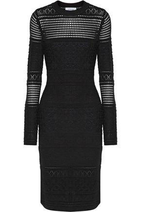 DEREK LAM 10 CROSBY Open-knit silk, wool and cashmere-blend dress