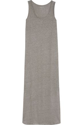 MAJESTIC Linen and silk-blend slub jersey midi dress