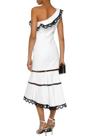 ALEXIS Christie one-shoulder crochet-trimmed cotton-blend jacquard midi dress