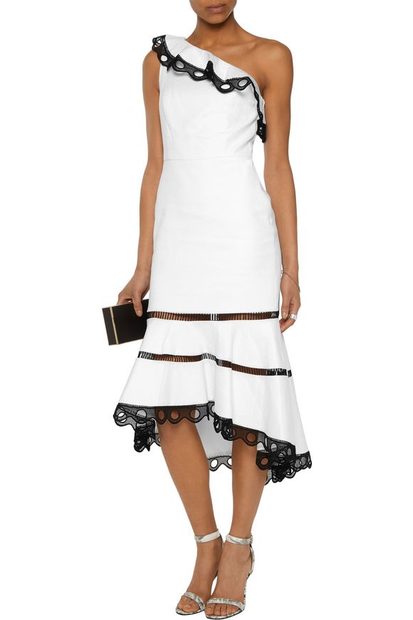 Christie one-shoulder crochet-trimmed cotton-blend jacquard midi dress |  ALEXIS | Sale up to 70% off | THE OUTNET