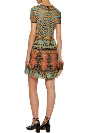 VALENTINO Metallic pleated embroidered tulle mini dress