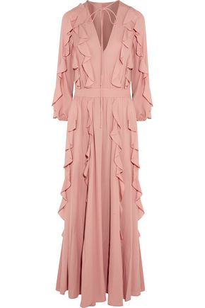 VALENTINO Ruffled silk-georgette maxi dress