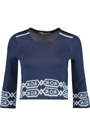 MAJE Mathieu cropped jacquard-knit sweater
