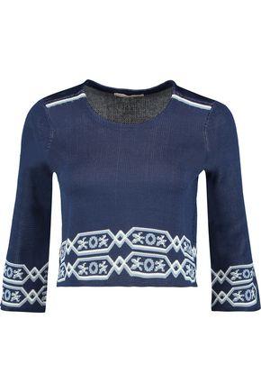 MAJE Mathieu cropped jacquard-knit sweater