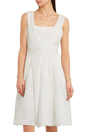 MAJE Pleated ribbed-knit dress