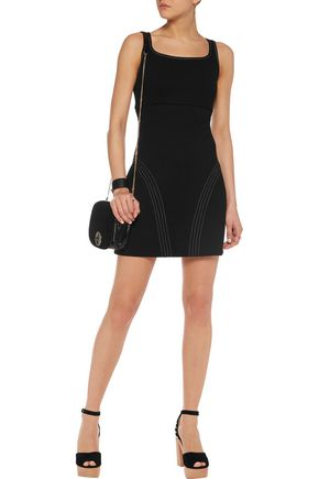 MAJE Embroidered scuba mini dress