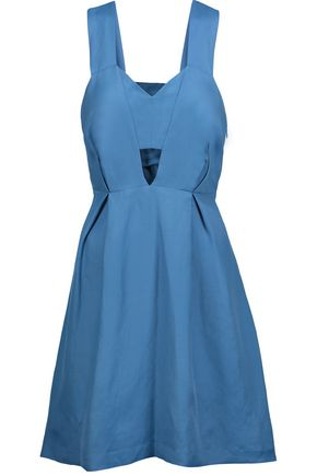 SANDRO Runy cutout pleated chambray mini dress