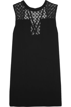 SANDRO Paris Cutout broderie anglaise-paneled crepe mini dress