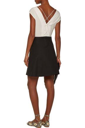 SANDRO Rupa lace-up silk and cotton-blend mini dress
