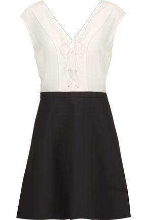 SANDRO Rupa lace-up silk and cotton-blend mini dress