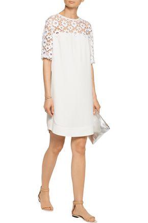 SANDRO Lace-paneled crepe mini dress