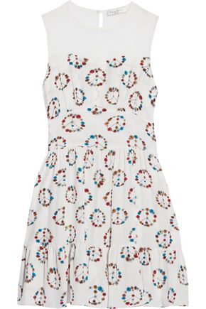 SANDRO Chiffon-paneled printed silk dress