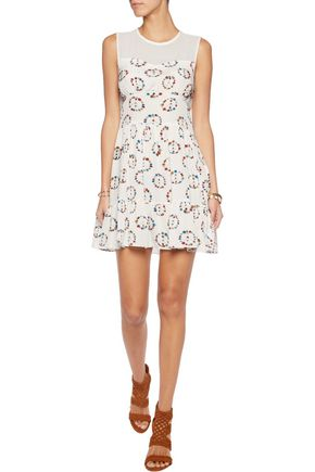 SANDRO Chiffon-paneled printed silk dress