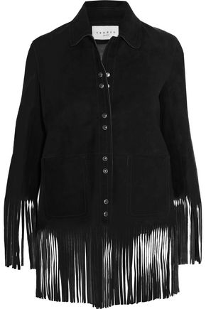 SANDRO Paris Vickie fringed nubuck jacket