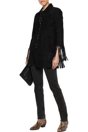 SANDRO Vickie fringed nubuck jacket