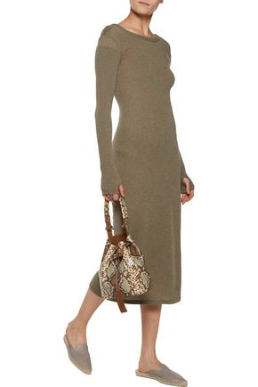 ENZA COSTA Cashmere and cotton-blend midi dress