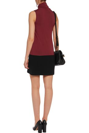 BAILEY 44 Paneled ribbed cotton and stretch-jersey turtleneck mini dress