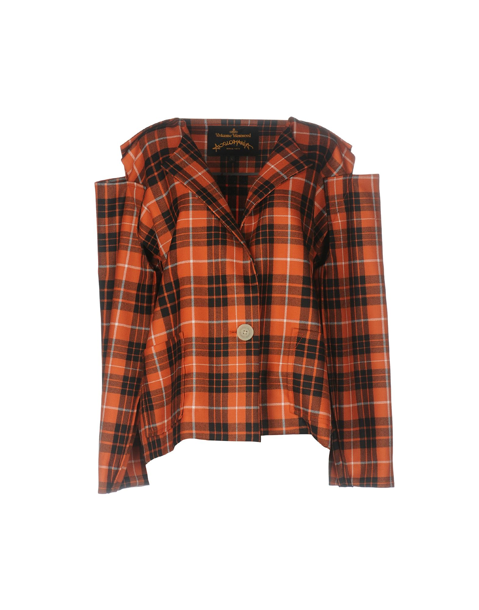 Radio Tartan Wool-Twill Blazer in Orange