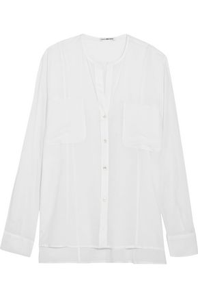 JAMES PERSE Stretch cotton and silk-blend jersey shirt