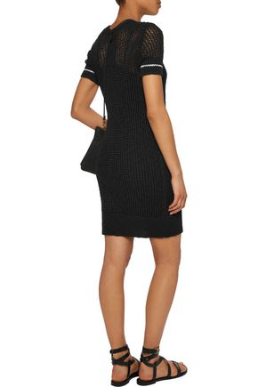 JAMES PERSE Open-knit cotton and linen-blend dress