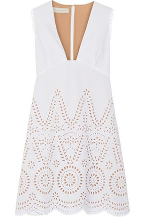 STELLA McCARTNEY Aline broderie anglaise cotton mini dress