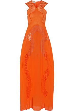 STELLA McCARTNEY Jannine paneled embroidered cotton-blend gauze gown