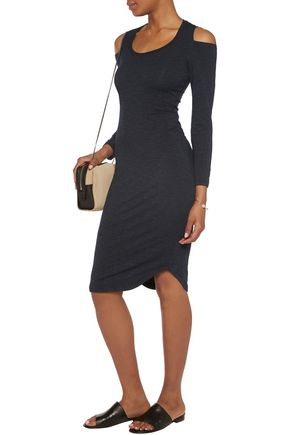 MONROW Cold-shoulder stretch-jersey dress