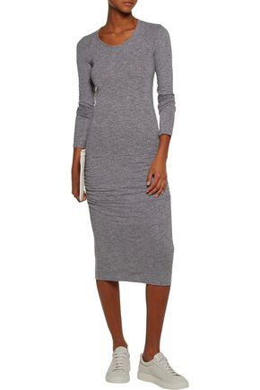 MONROW Baseball ruched stretch-jersey midi dress