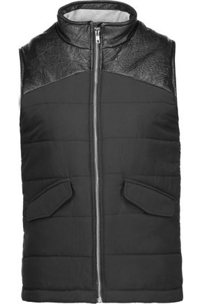 MONROW Faux leather-trimmed quilted faille vest