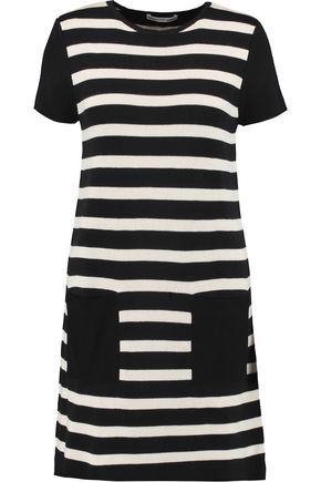 COTTON by AUTUMN CASHMERE Suede-paneled striped cotton mini dress