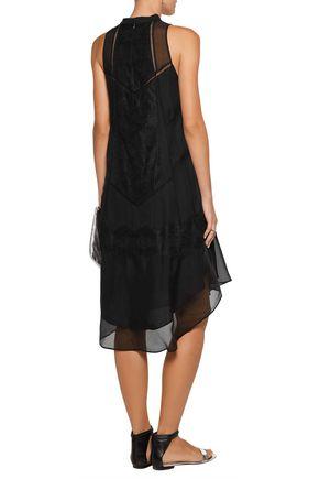 HAUTE HIPPIE Romance lace-trimmed silk-chiffon dress