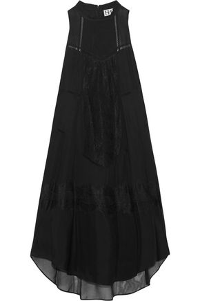 HAUTE HIPPIE Romance lace-trimmed silk-chiffon dress