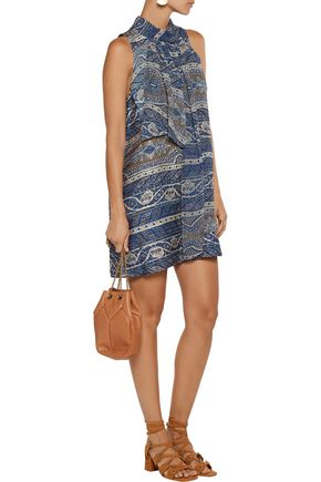 HAUTE HIPPIE Flotus tie-neck printed silk-jacquard mini dress