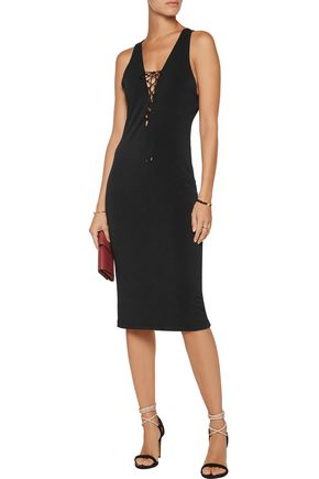 HAUTE HIPPIE Sheia lace-up stretch-crepe dress