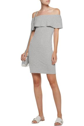 KAIN Carys off-the-shoulder ribbed striped stretch-knit mini dress