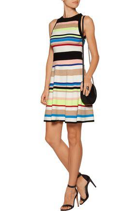 MILLY Striped stretch-knit mini dress